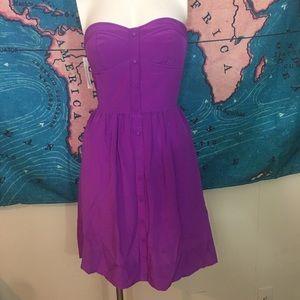 Rebecca Taylor vibrant purple strapless dress